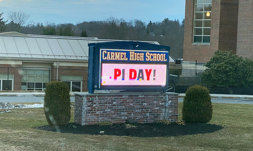 Pi Day sign outside CHS