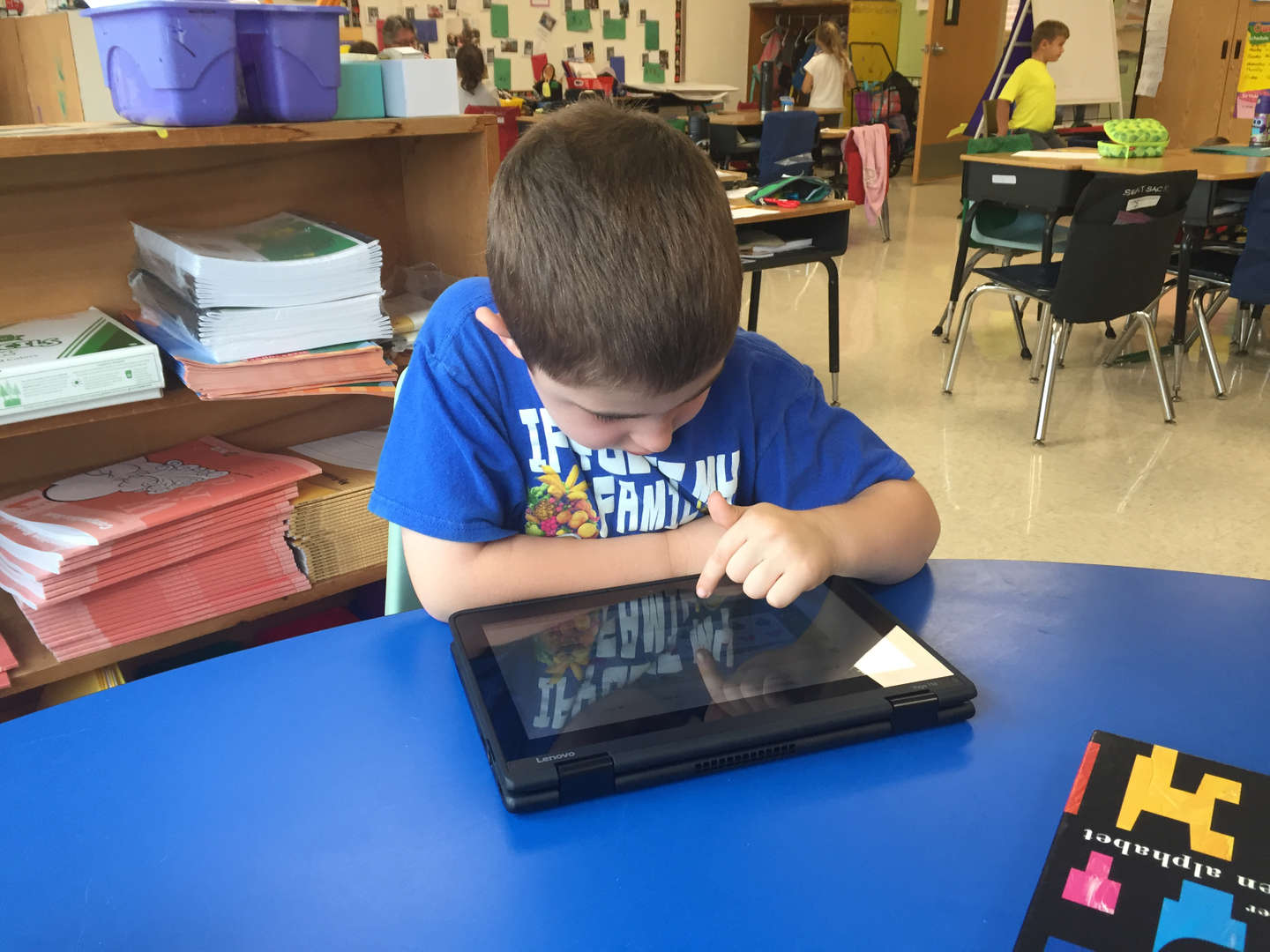 student working on a math problem on an iPad