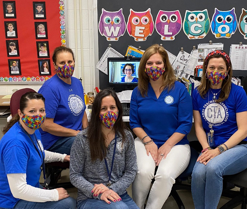 Group wearing blue for Autism awareness