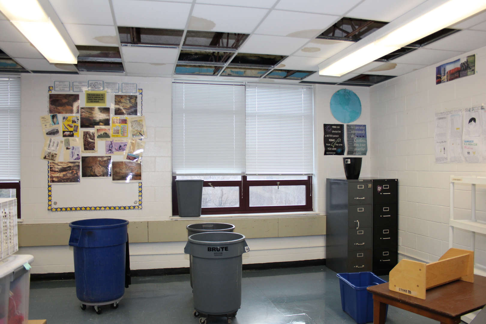 Despite regular maintenance, our roofs are near the end of their useful life. This is especially evident during heavy rains. This is a classroom in GFMS after a recent storm.