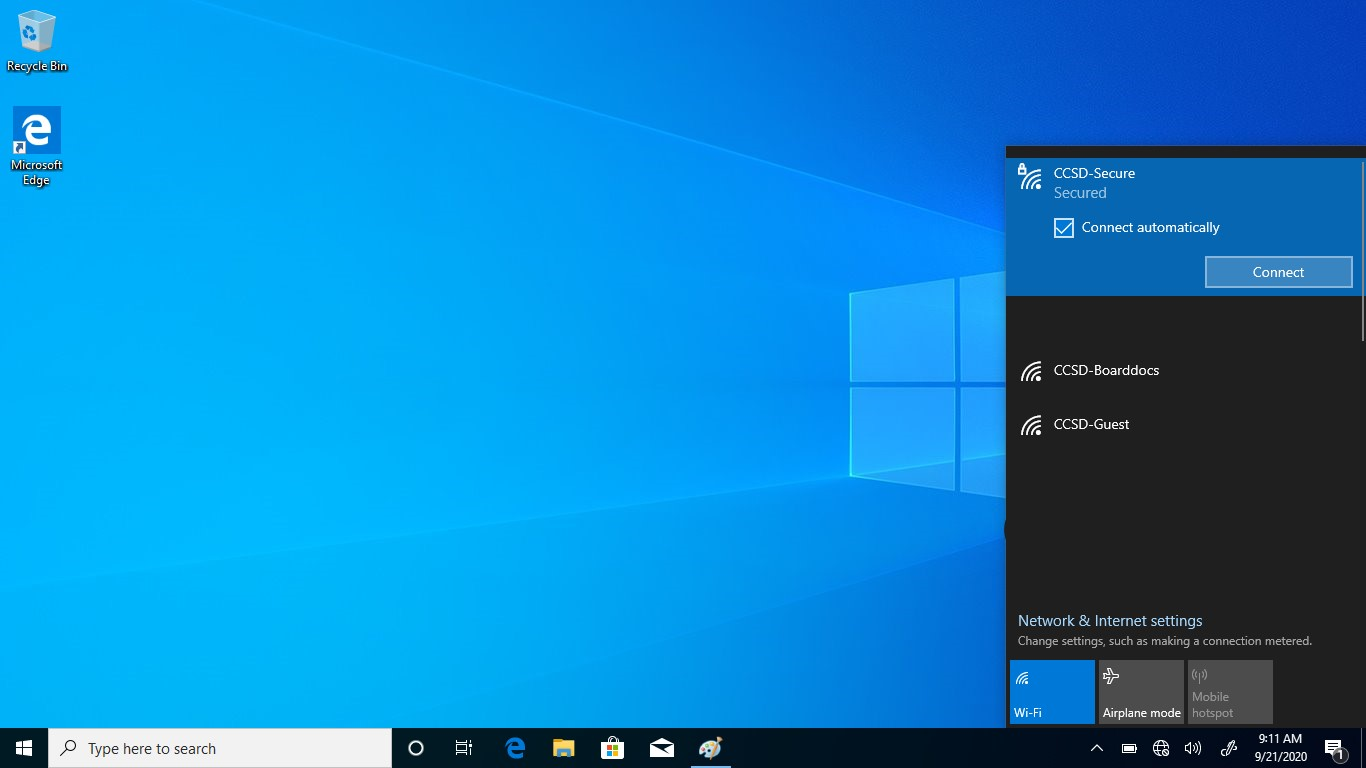Windows 10 - Select CCSD Secure WiFi network and click Connect