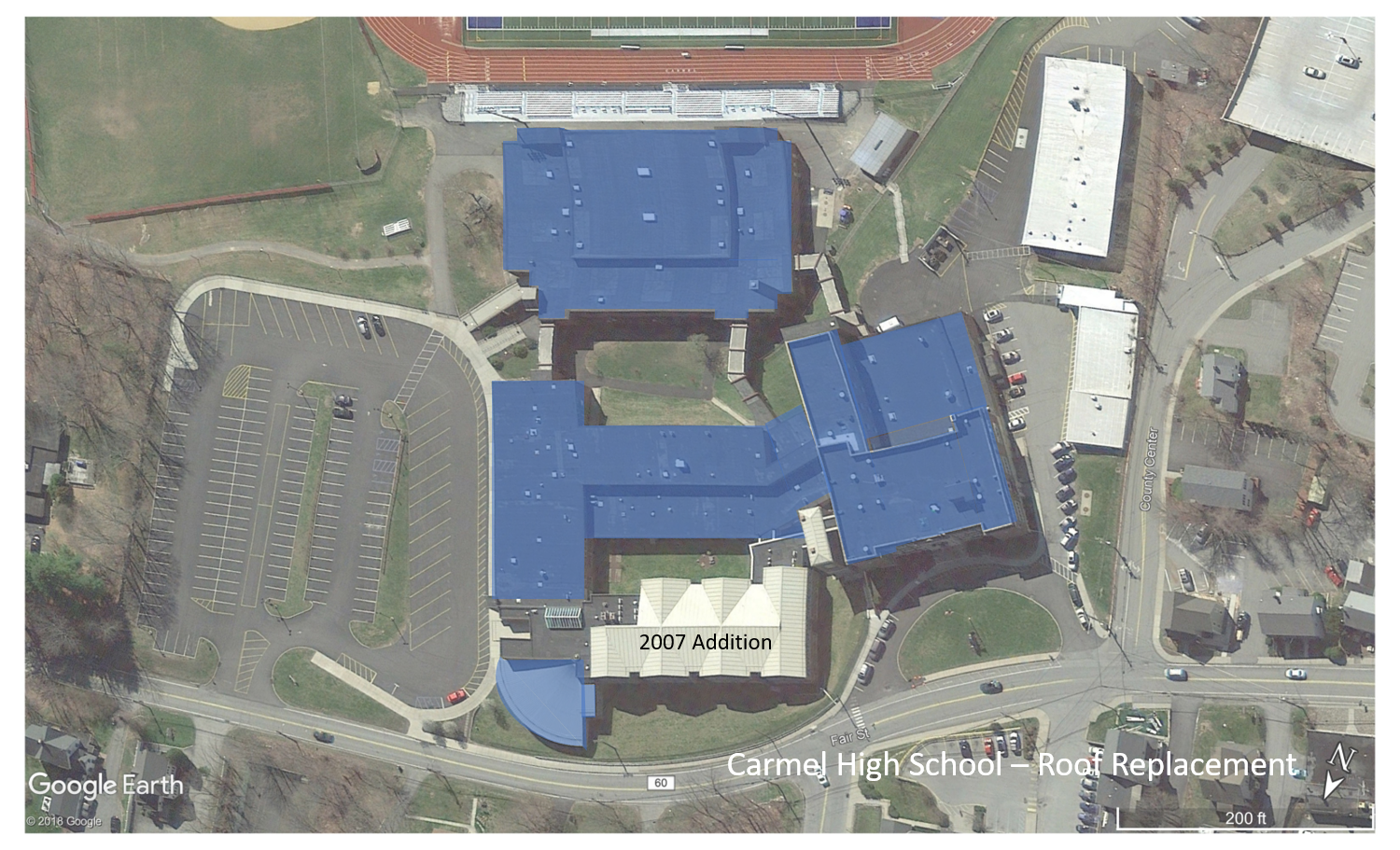 Carmel High School (replacement sections are shown in blue)