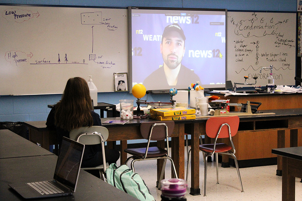 Students watch presentation in class