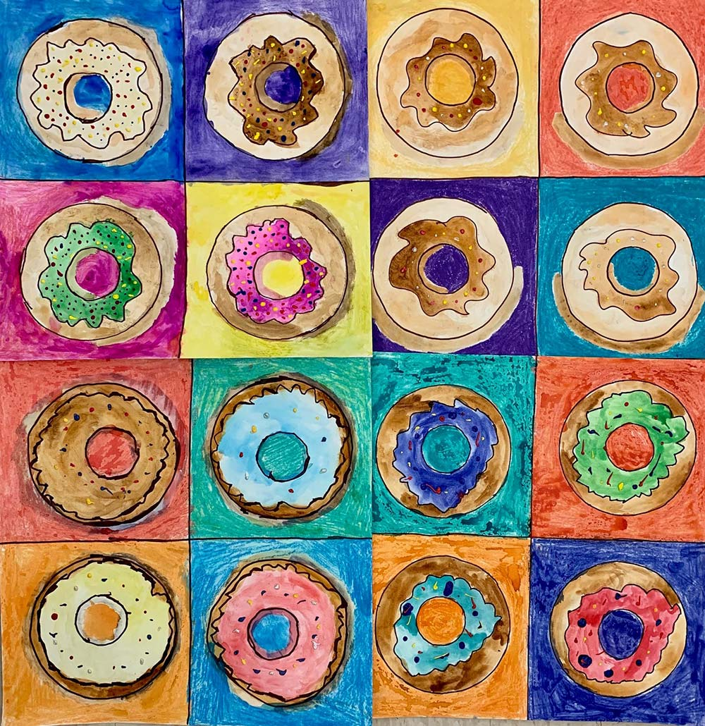 Donut drawings in a grid formation