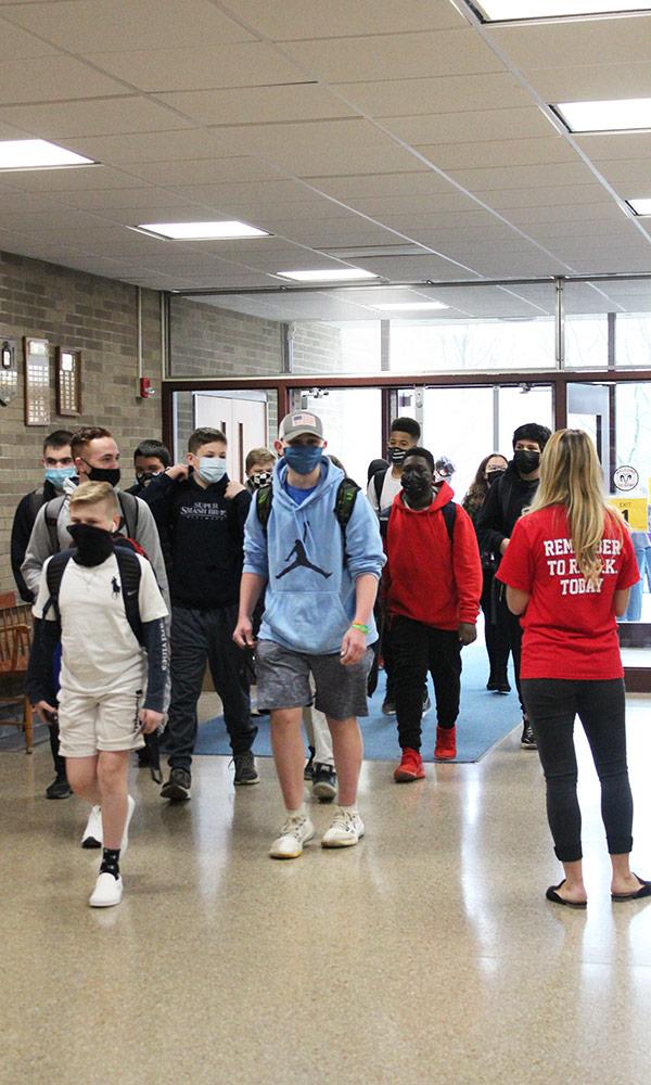 Students enter George Fischer Middle School