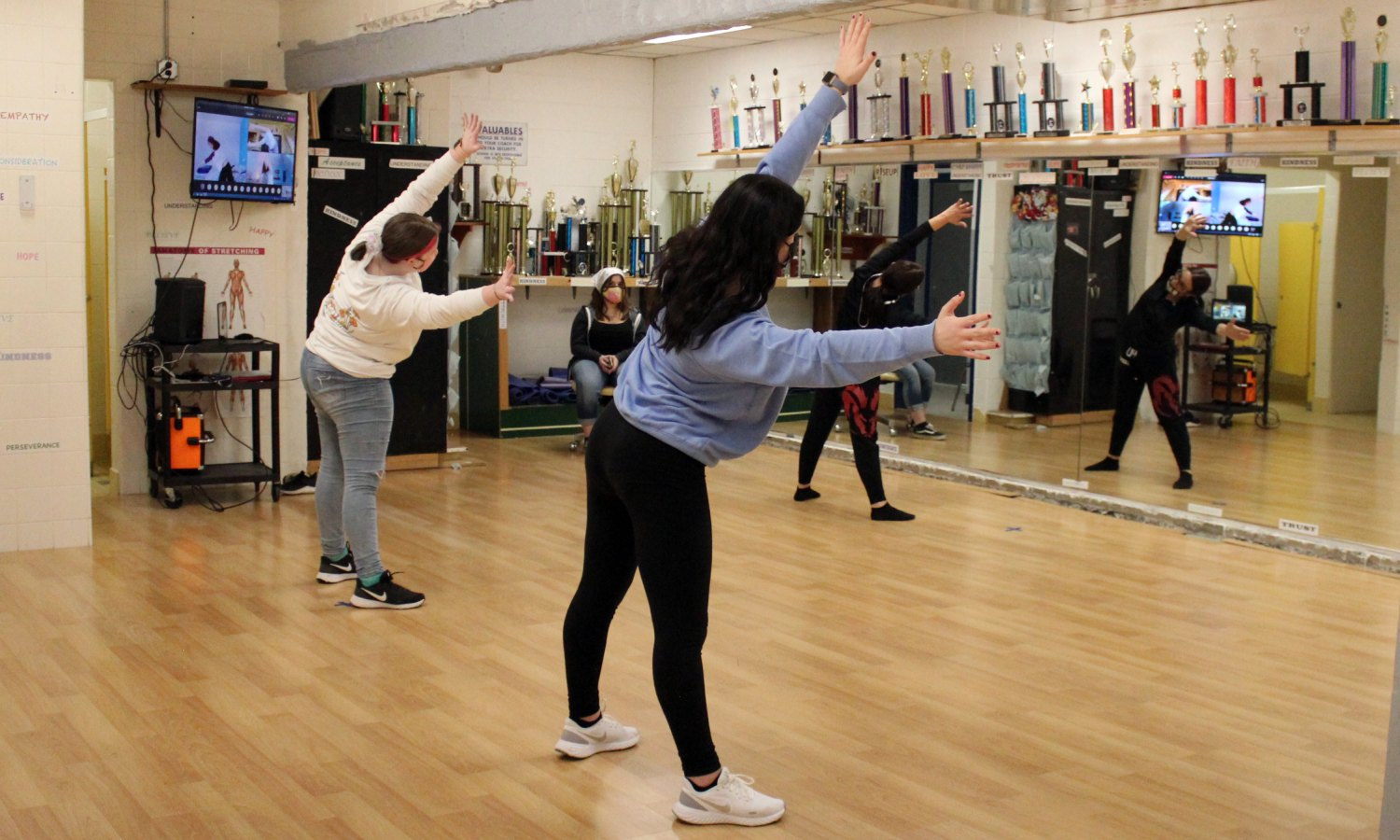 Students participate in class in the dance studio at CHS