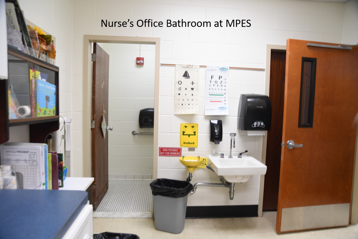 Bathroom entrance in the KPS nurse's office is too narrow to be handicap accessible.