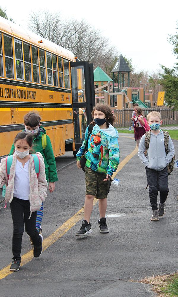 Students return to Kent Elementary School.