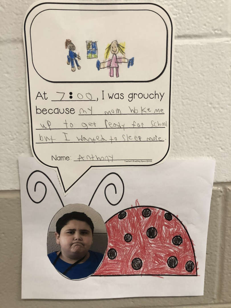 At 7:00, I was grouchy because my mom work me up to get ready for school but I wanted to sleep more - Anthony