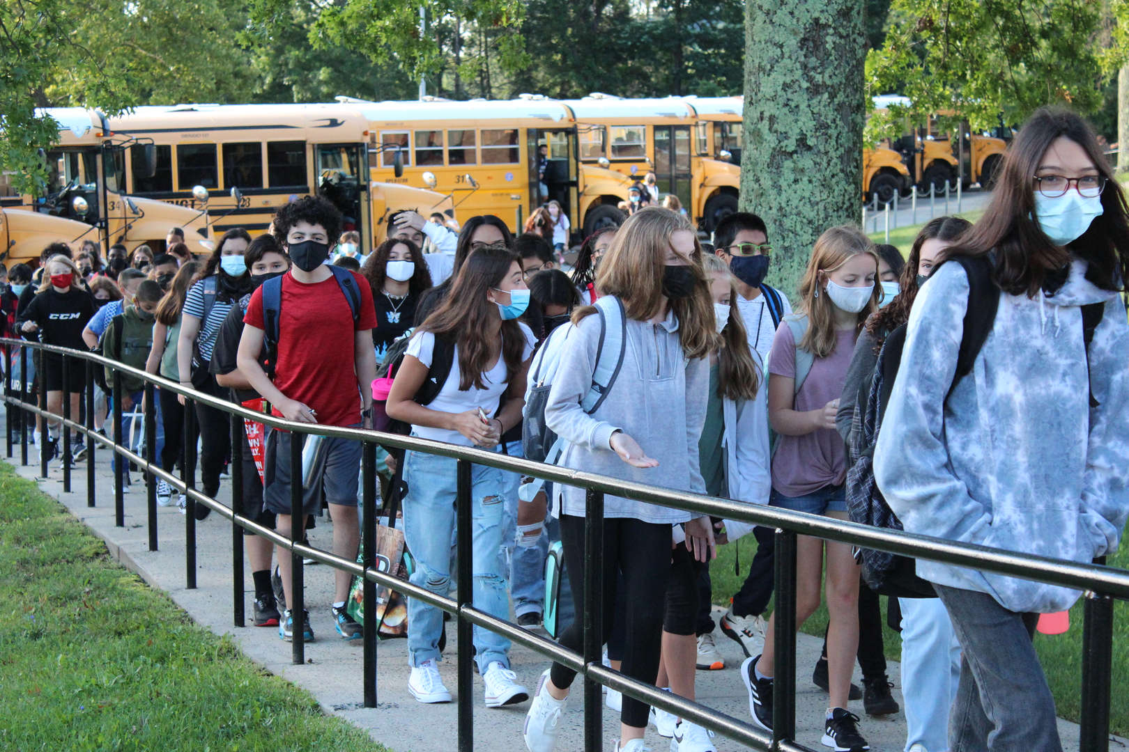 Students entering George Fischer Middle School