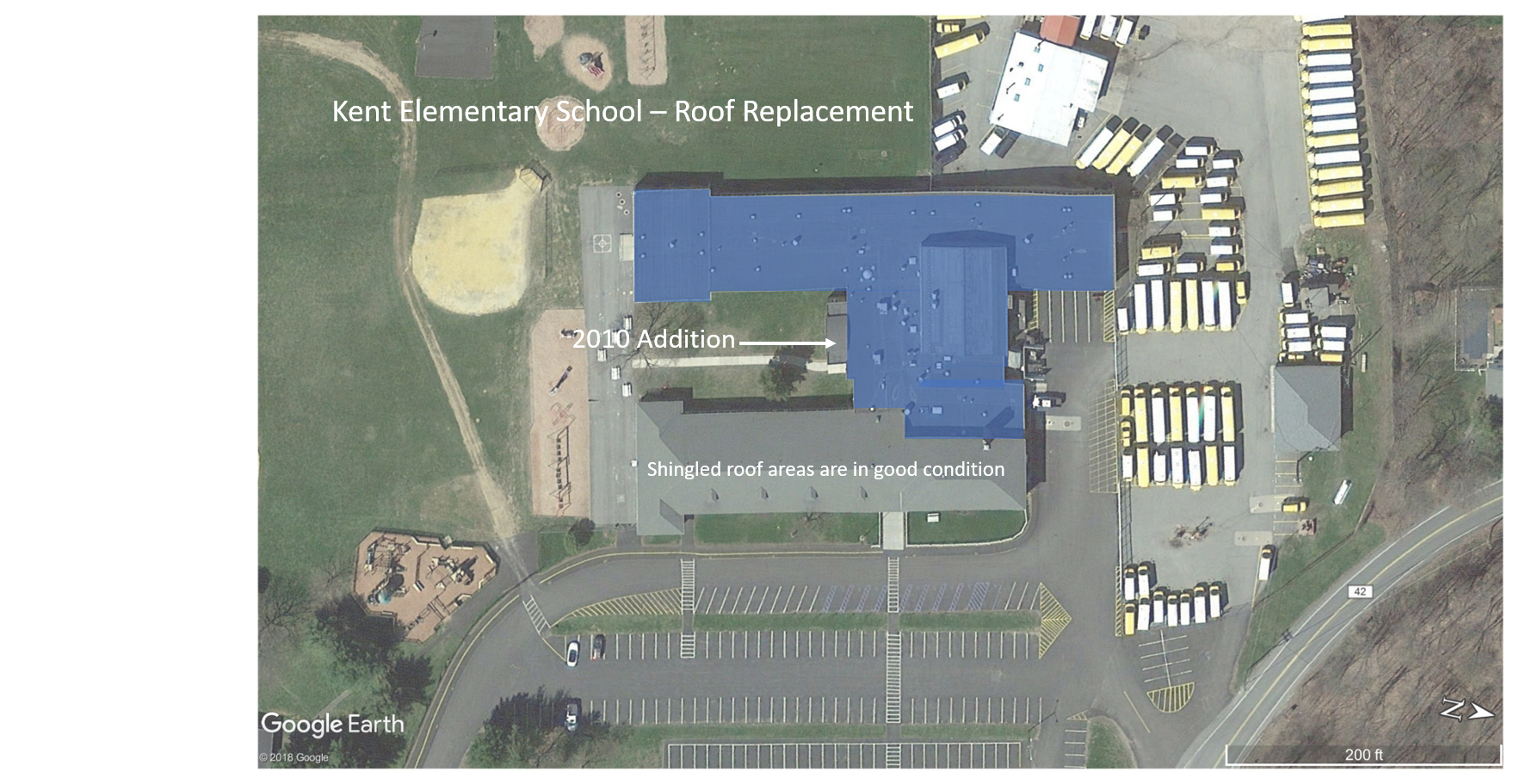 Kent Elementary School (replacement sections are shown in blue)