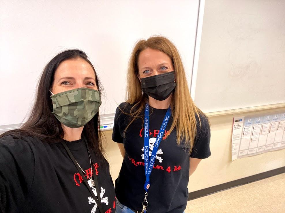 CHS Teachers show off Pi Day shirts