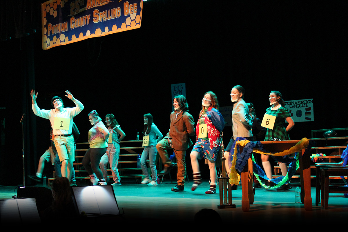 25th Annual Putnam County Spelling Bee performers on stage