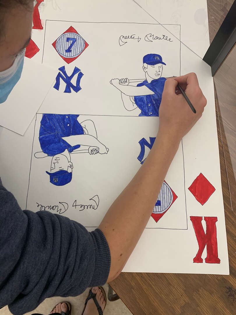 Student draws a NY Yankee player on a King playing card