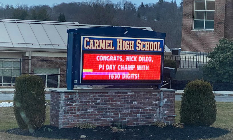 Congratulations sign outside CHS