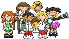 clip art of students in lab coats holding experiments