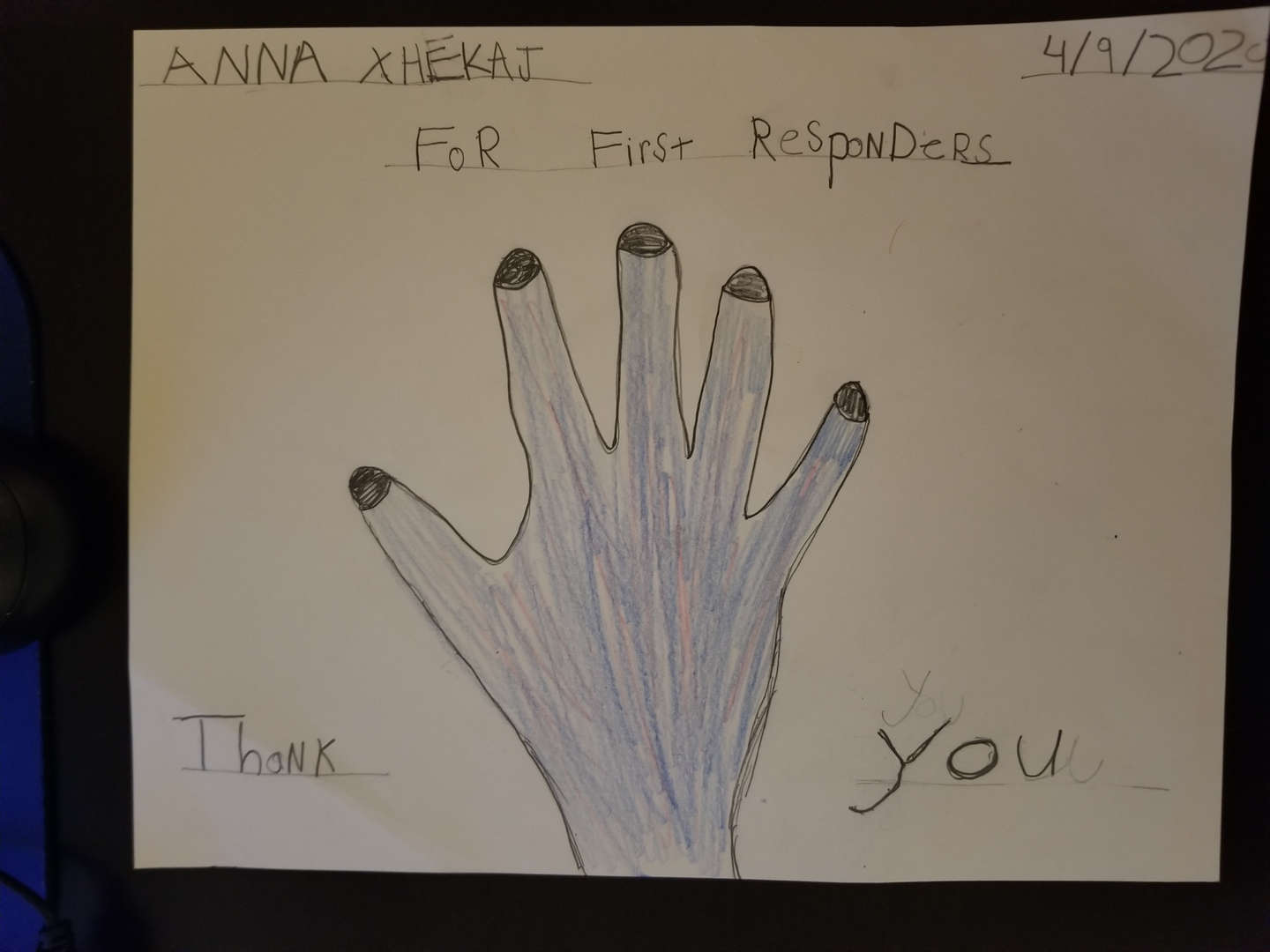 A thank you to first responders from Anna from Ms. Diciembri's class