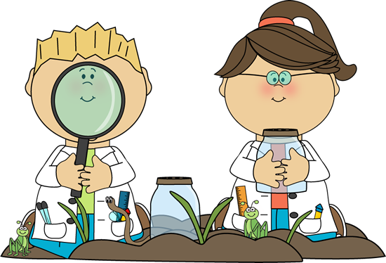 Boy with a magnifying glass and a girl with a specimen jar surrounded by plants