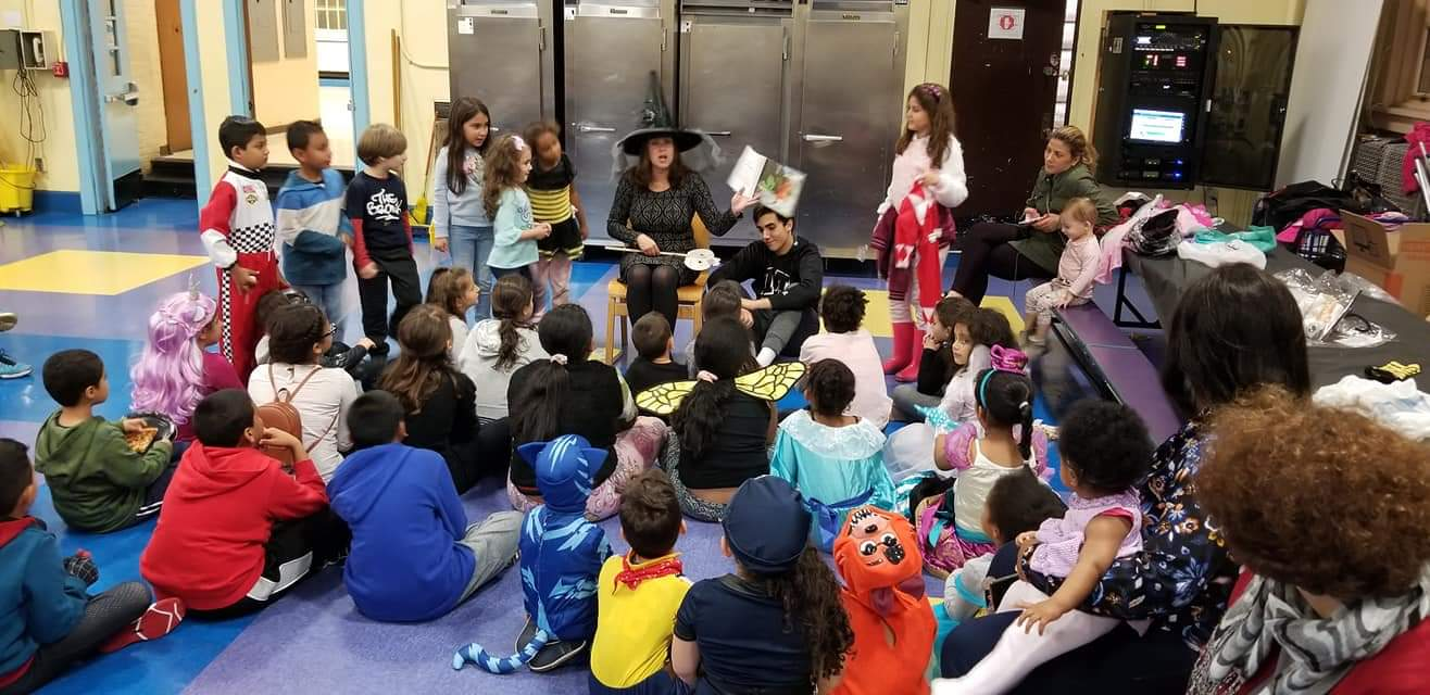 Spooky story night book reading in the cafeteria with Mrs. Mirando