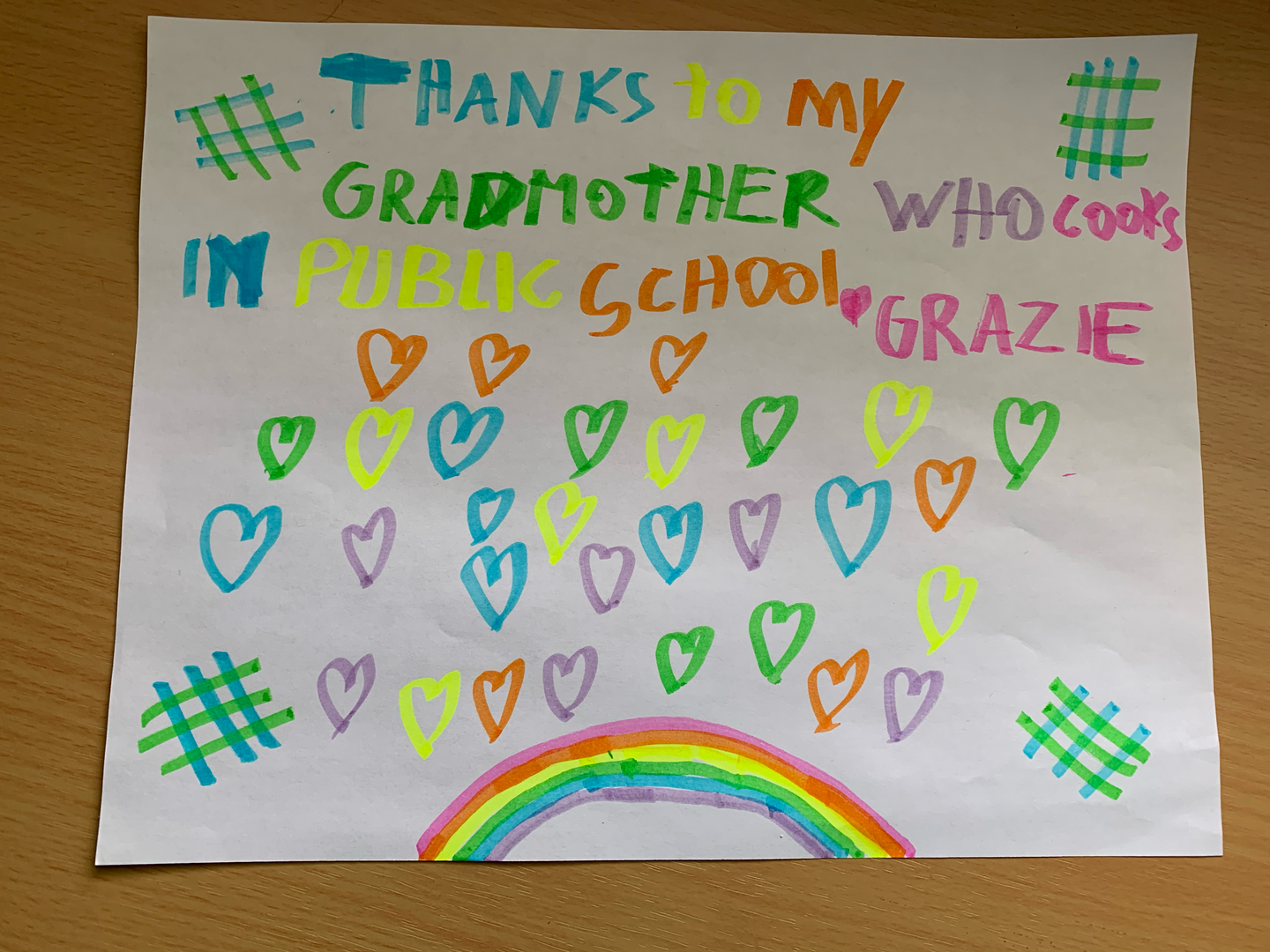 Message to a grandma from Ms. Gellar's student