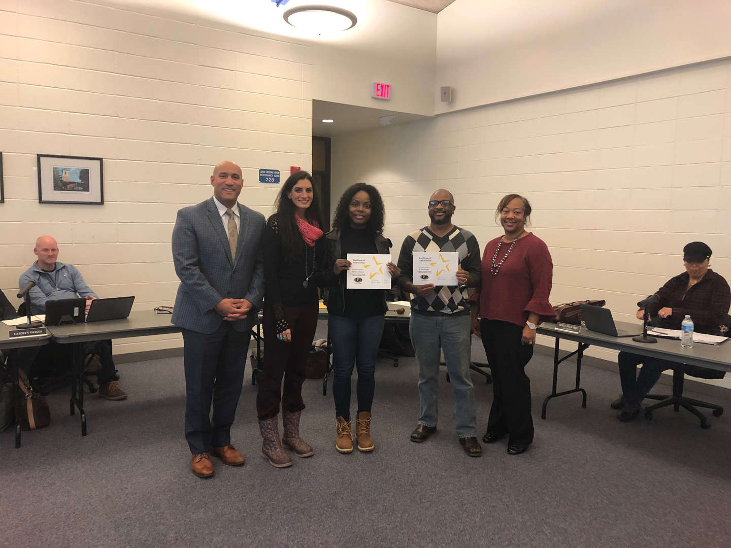Western Avenue's Mathlete Coaches were recognized at the November 26th Board meeting.  Shown Ms. TaShawna Bennett and Dr. Stan Griggs.