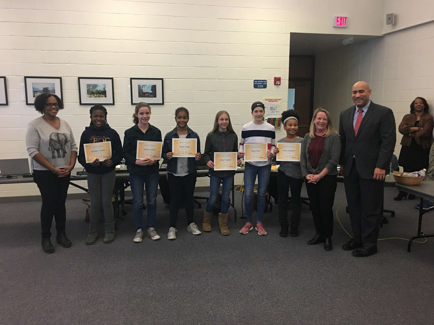 The Board of Education recognizes the District spelling bee participants.