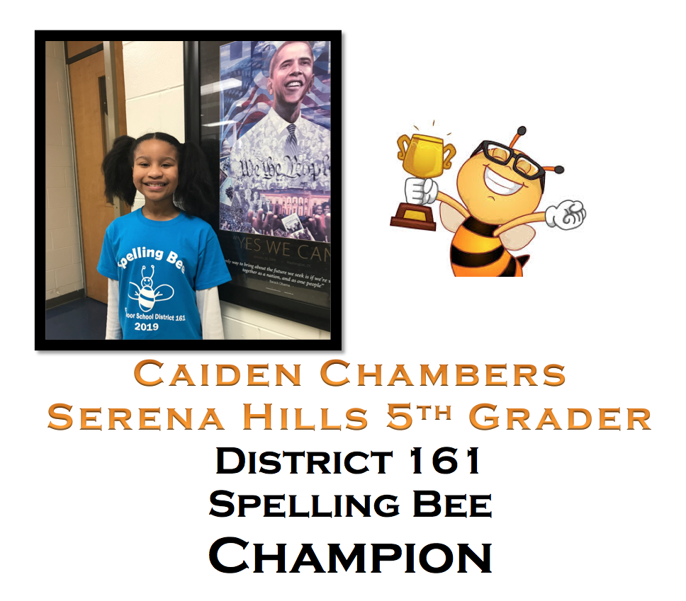 District 161 Spelling Bee Winner Caiden Chambers