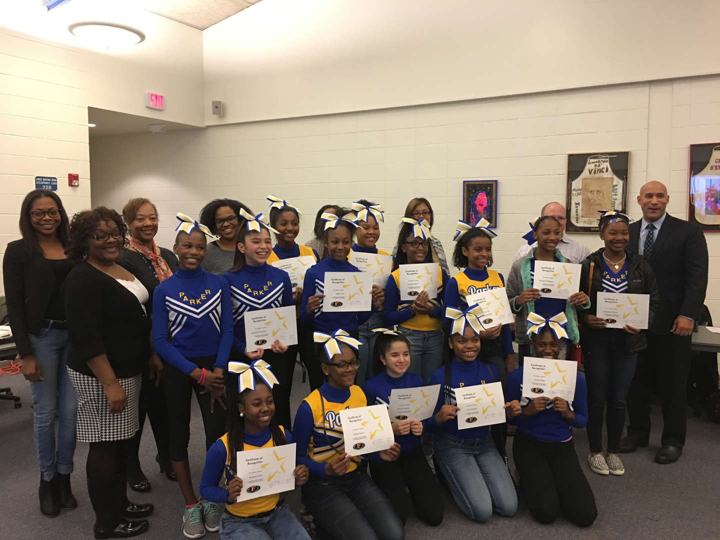 The Board of Education recognized Parker cheerleaders who participated in the Walk of Hope for Cancer.