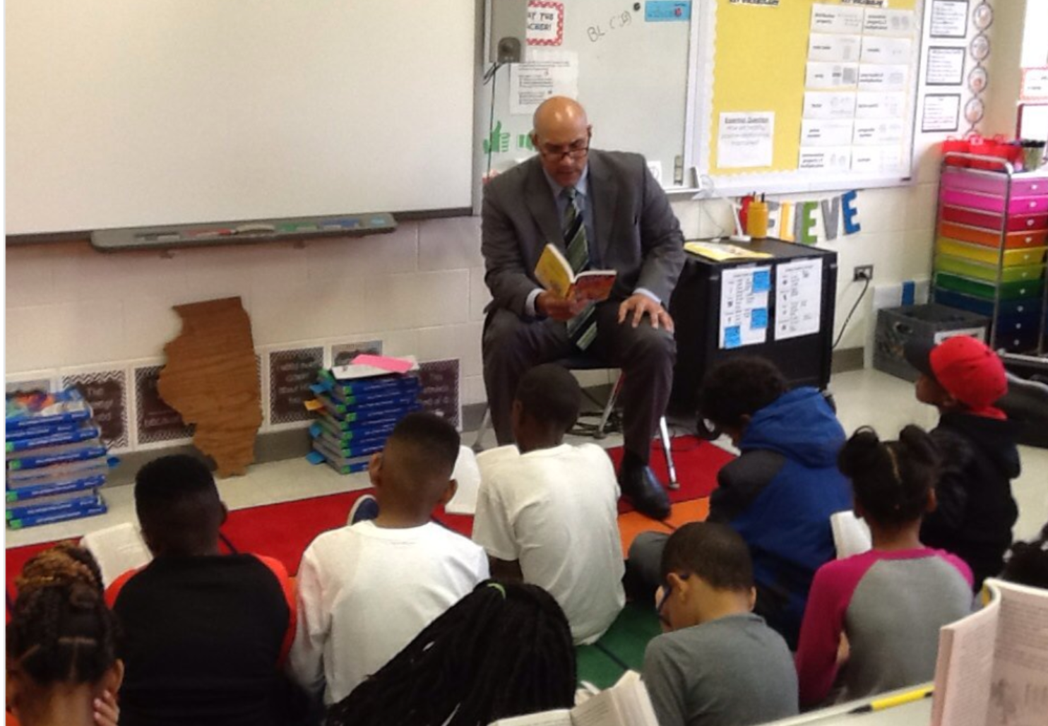 Dr. Smith reading Charlie and the Chocolate Factory to the students at Flossmoor Hills!