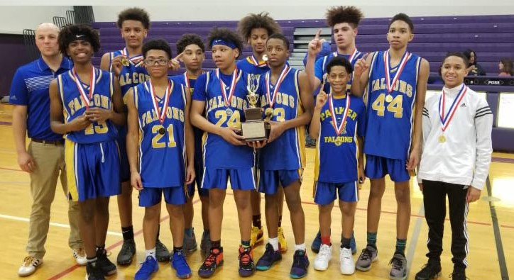 Parker Falcons 8th grade boy's basketball team won the Conference Championship!