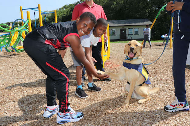 students interact with service dog on playground