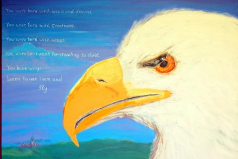 mural of a bald eagle.