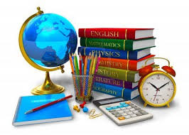 Class Supplies inclusive of a globe, pens, calculator and books