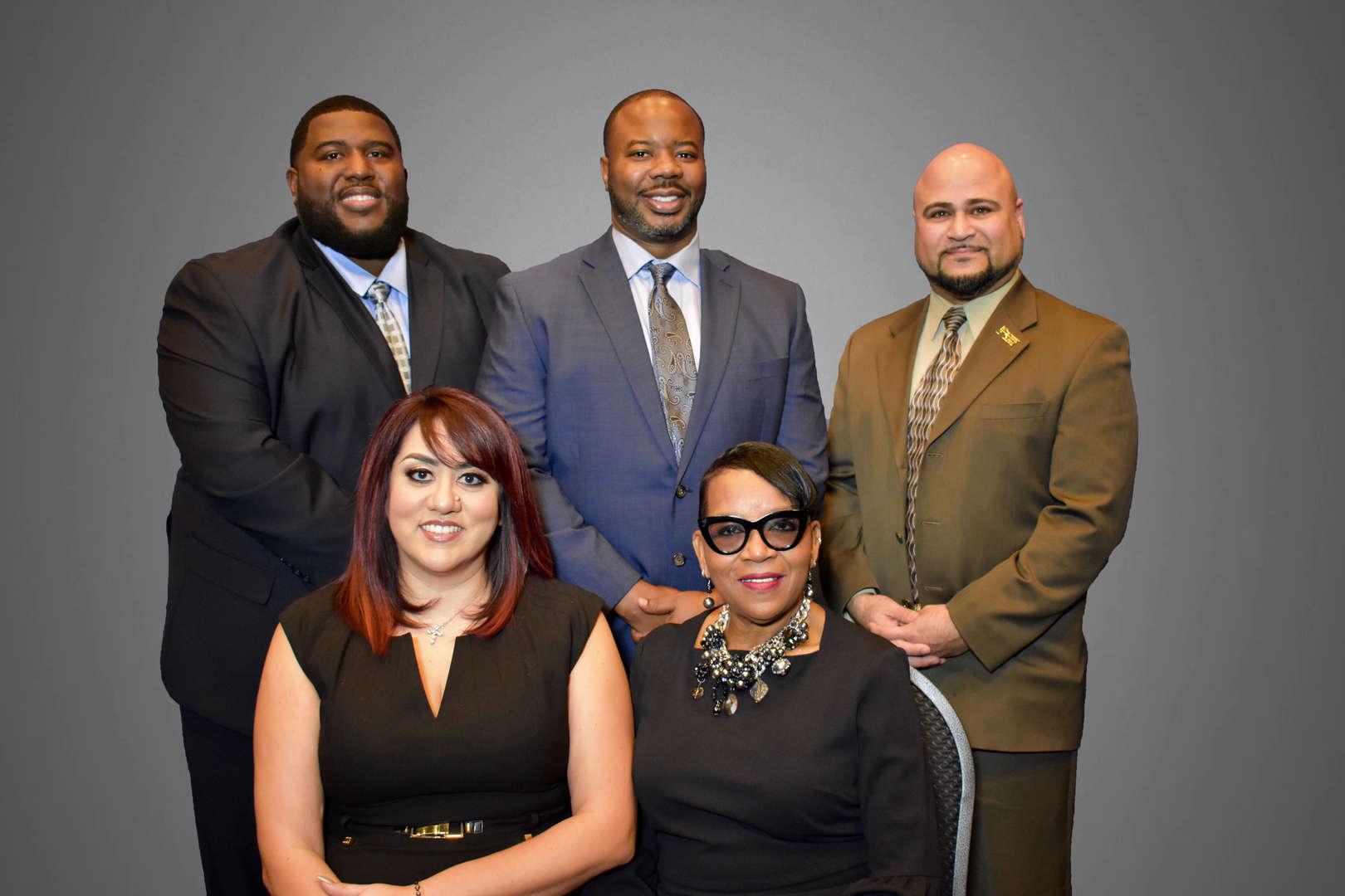 Back left to right;  Anton Williams, Dwayne Rancifer Jr., Joel Rodriguez  FRONT left to right; Vanessa Hernandez-Orange, Diane Smith