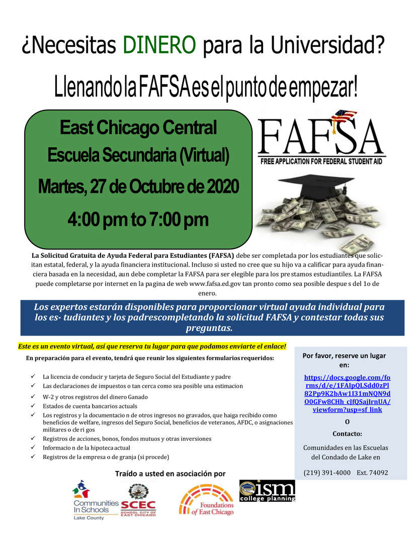 In Spanish FASFA Free application virtual on October 27, 2020 at Central High School