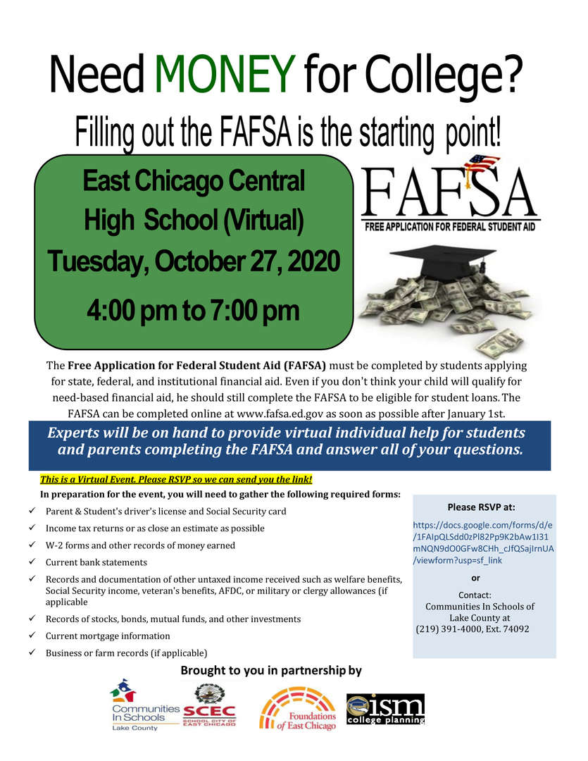FASFA Free application help guide virtual on Tuesday October 27, 2020 at Central High School