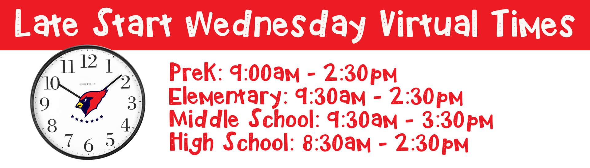 Late Start Wednesday start times