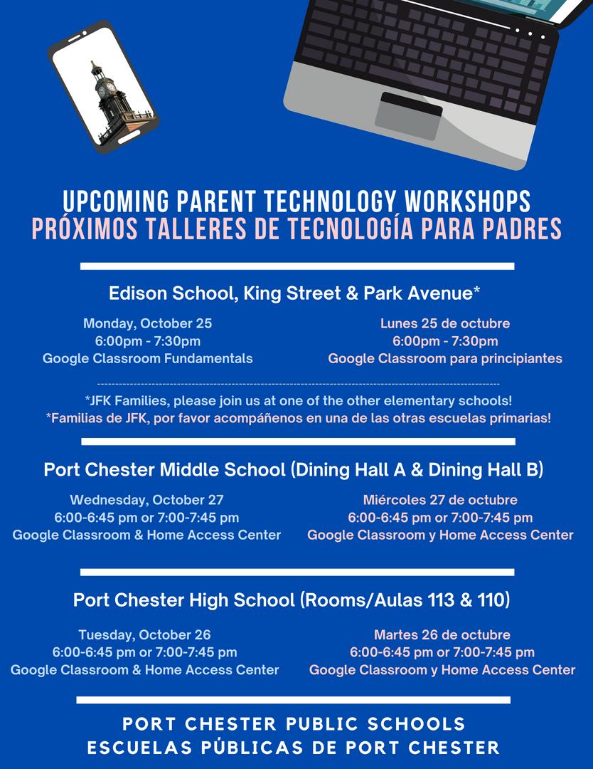 Flyer for technology workshops
