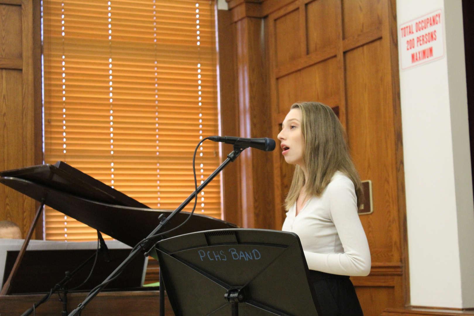 Female student singing