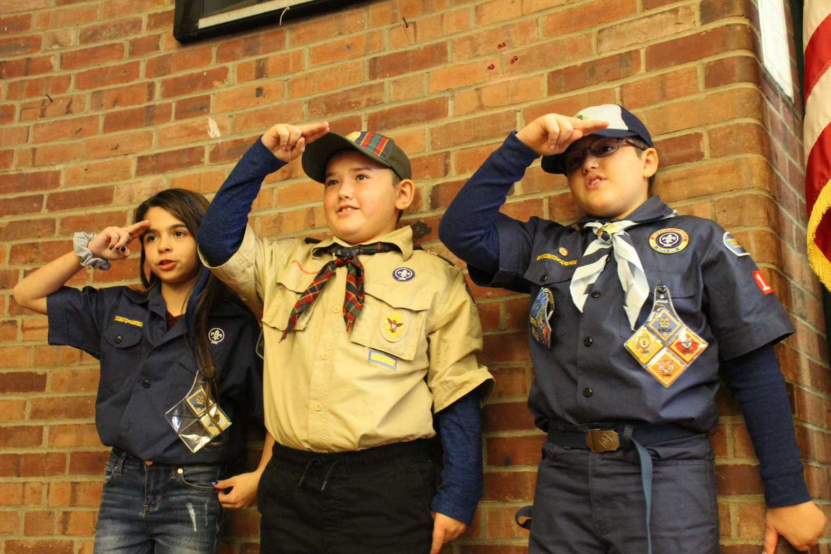 Boy Scouts salute flag