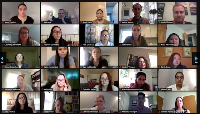 A group of teachers during a Zoom meeting