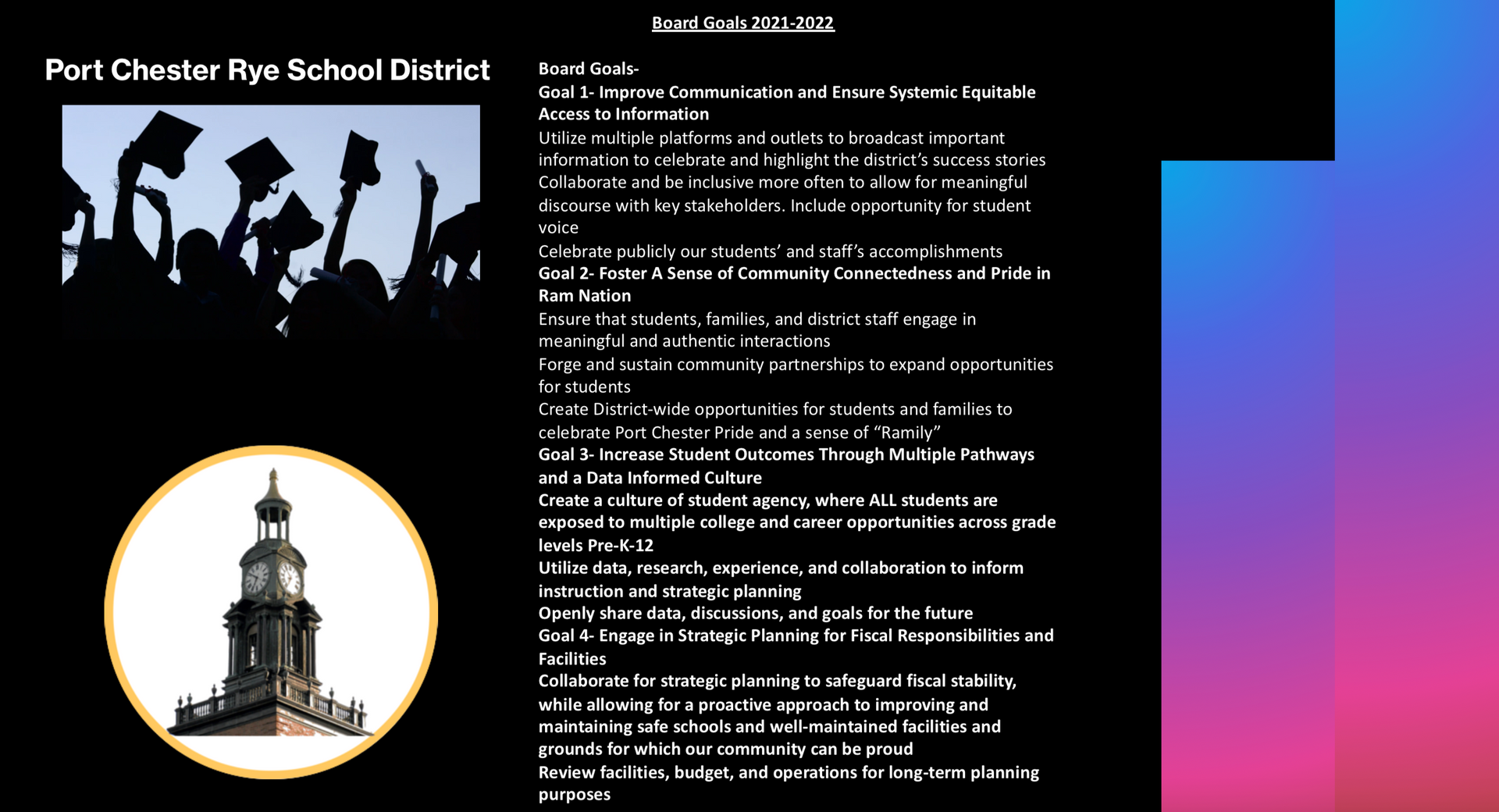 Flyer for the Board of Education Goals for 2021-2022