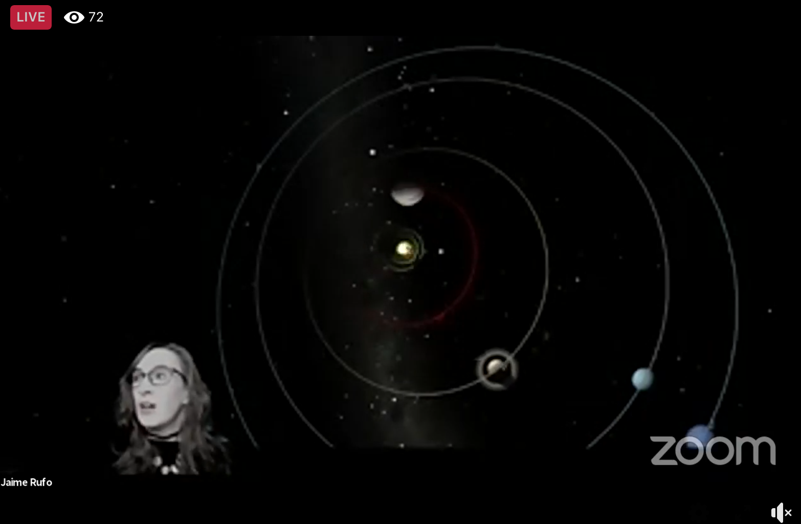 Zoom screen shot of astronomy teacher talking about planets
