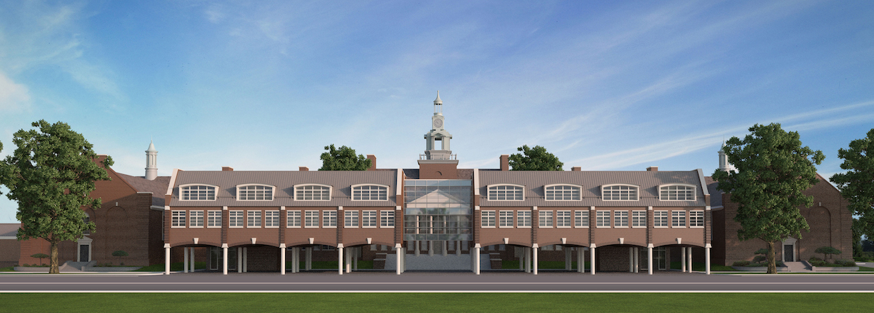 Architectural rendering of planned additions to PCHS as seen from Tamarack Road.