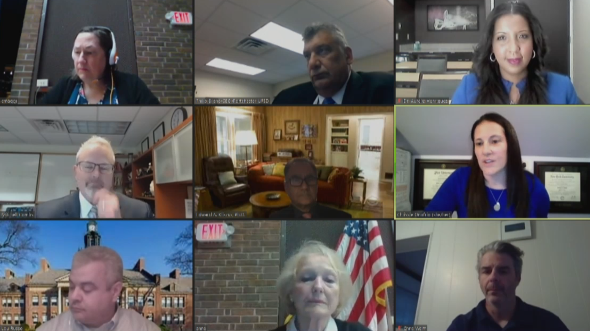 View of virtual board of education meeting.