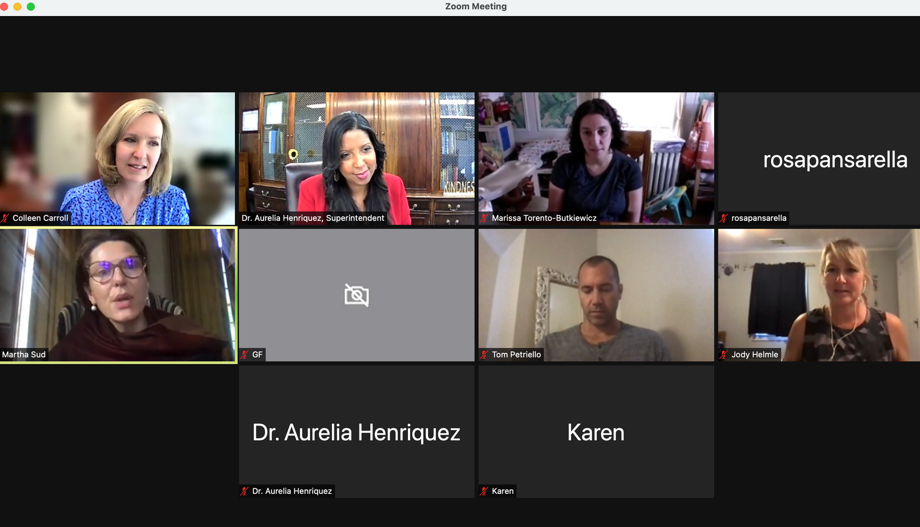 screen shot from virtual meeting with parents and administrators
