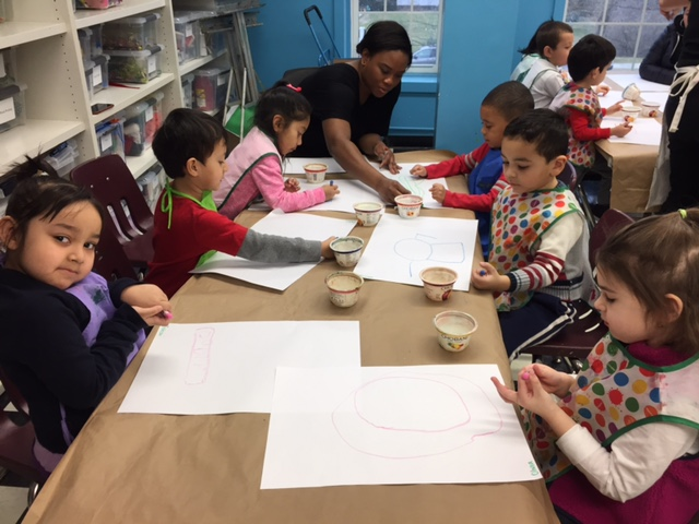 students making art