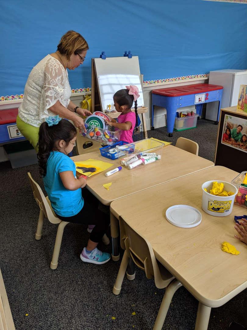 Children work at table