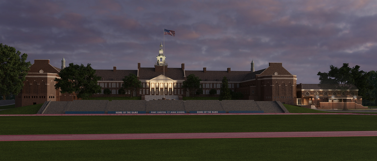 ground level view of additions at PCHS, night view