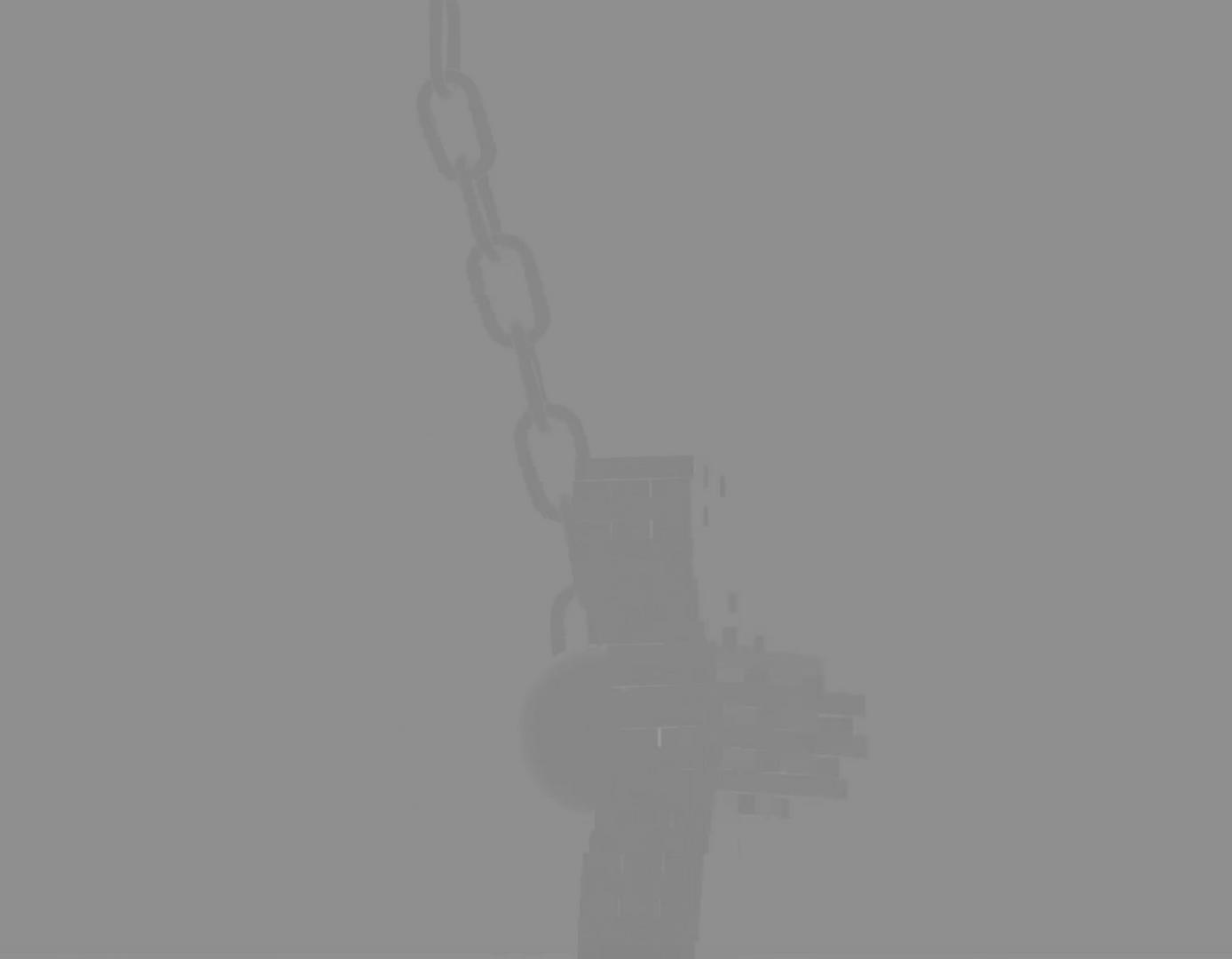 Still shot of animated video, wrecking ball crashing through a brick wall
